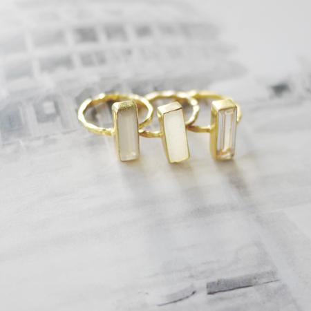 14k gold vermeil modern baguette cut ring