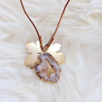 Long Druzy Geode Necklace