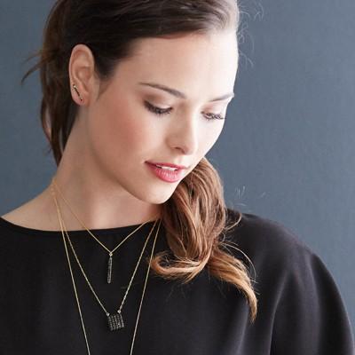 Black Arrow Pavé Necklace