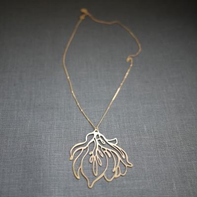 Golden Steel Magnolia Necklace