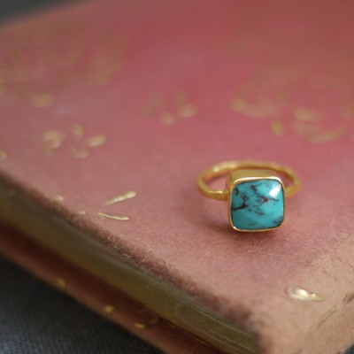 GEM RING: Square Turquoise