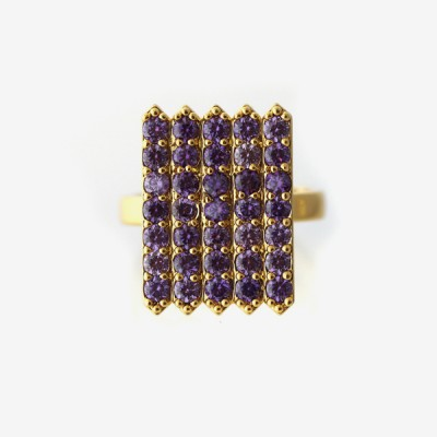 Birthstone Pavé Cocktail Ring - Amethyst