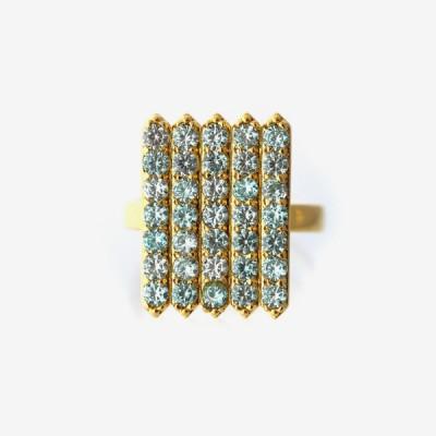 Birthstone Pavé Cocktail Ring - Aquamarine