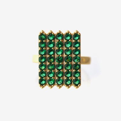 Birthstone Pavé Cocktail Ring - Emerald
