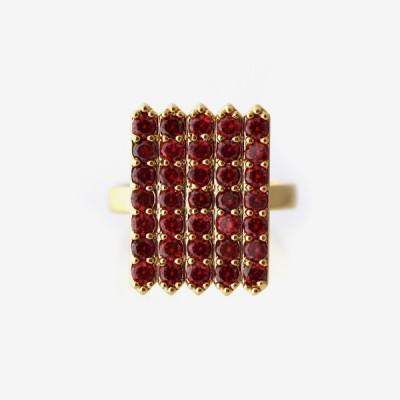 Birthstone Pavé Cocktail Ring - Garnet