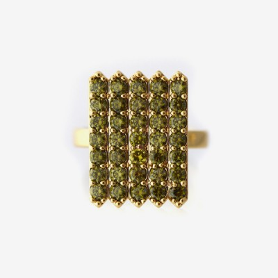 Birthstone Pavé Cocktail Ring - Peridot