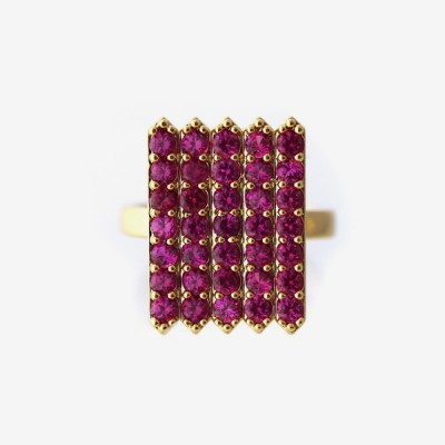 Birthstone Pavé Cocktail Ring - Ruby
