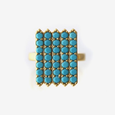 Birthstone Pavé Cocktail Ring - Turquoise