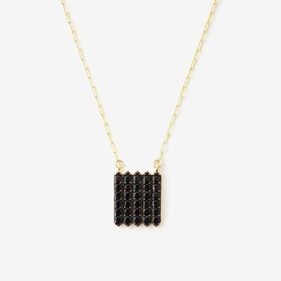 Mini Black Shield Pavé Necklace