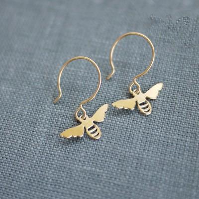 Tiny Golden Bee Earring