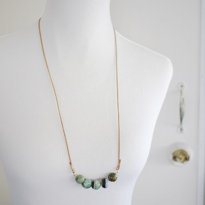 Leather Agate Necklace - Mottled Green