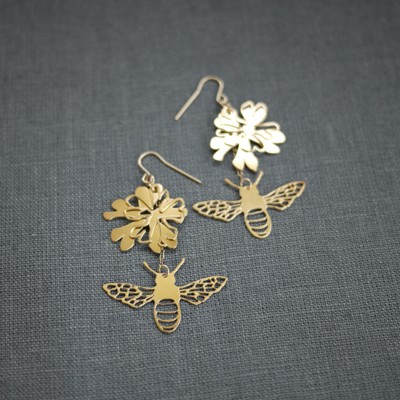 Golden Phlox Bee Earring
