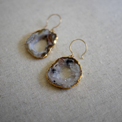 Gilded Geode Hoop Earring - One of a Kind