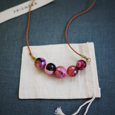 Leather Agate Necklace - Mottled Pinks II