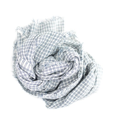 Checked Linen Scarf/Shawl