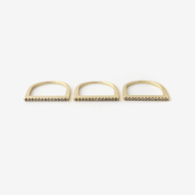 Stacking Bar Pavé Ring - Set of 3