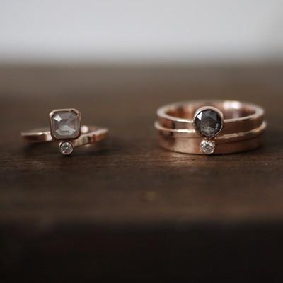 Custom Wedding Ring Set: Rose