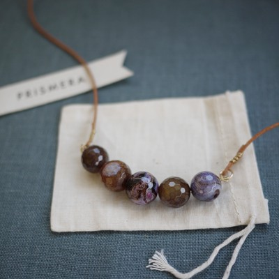 Leather Agate Necklace - Violet II
